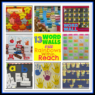 photo of: Word Walls in Elementary School: Sight Word Presentation on Bulletin Boards Round-up via RainbowsWithinReach