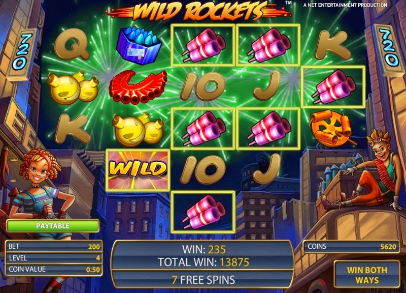 Wild Rockets Video Slot Screen