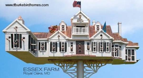 Casa de pájaros artesanal con la forma de una residencia