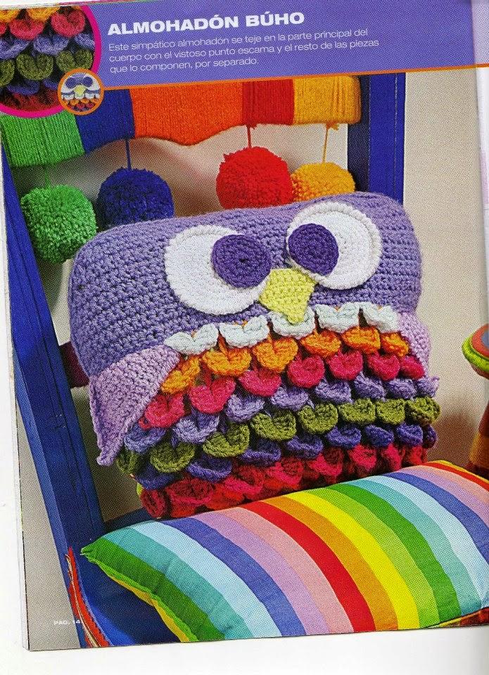 PATRONES GRATIS DE CROCHET: Patrón cojín Búho crochet