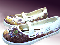 Sepatu Lukis lilac 293 Cewek Rp 125 000,sepatu lukis bunga,sepatu lukis