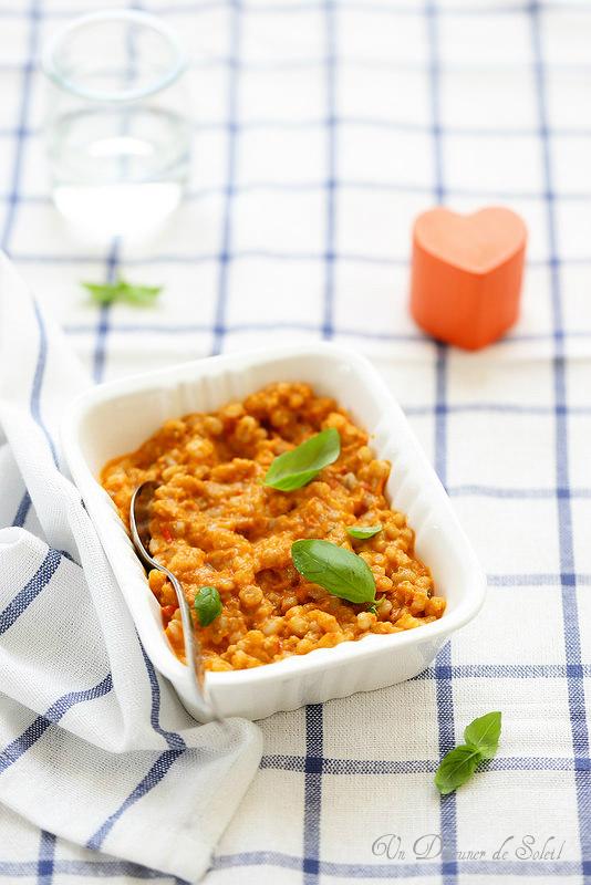 Orge à la sauce tomate, boeuf et poivrons (recette pour bébés)