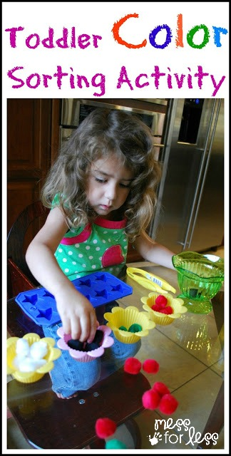 Toddler Color Sorting Activities - simple ways for toddlers to learn about colors.
