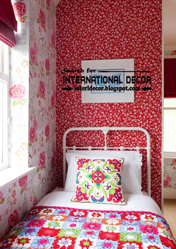 color combinations with red color in the interior, red wallpaper for kids bedroom