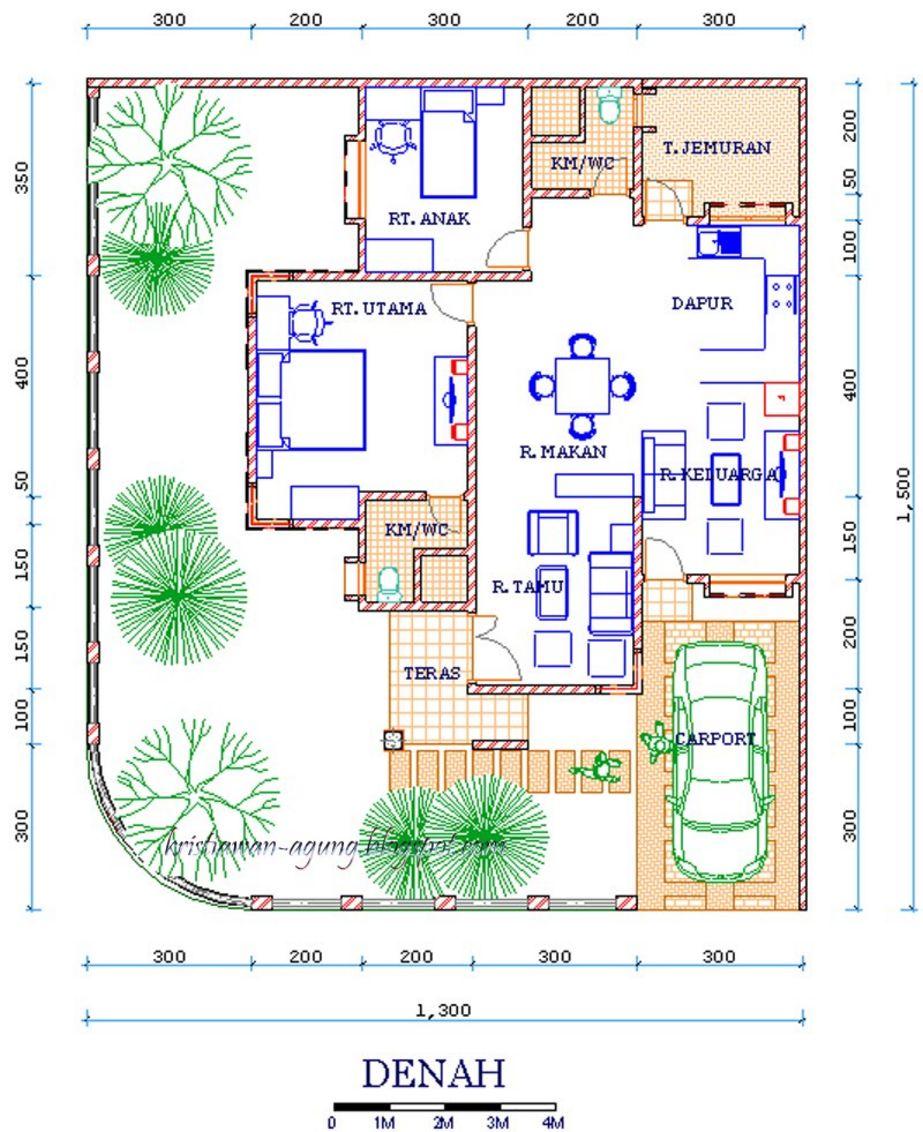 contoh denah rumah mewah 1 lantai menarik