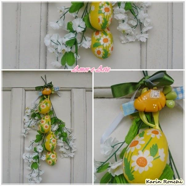 Decoração de Páscoa para porta - flores, ovinhos amarelos e cenourinha