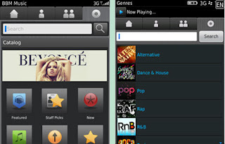 Catalog Selection of BBM Music With Now Playing Selection