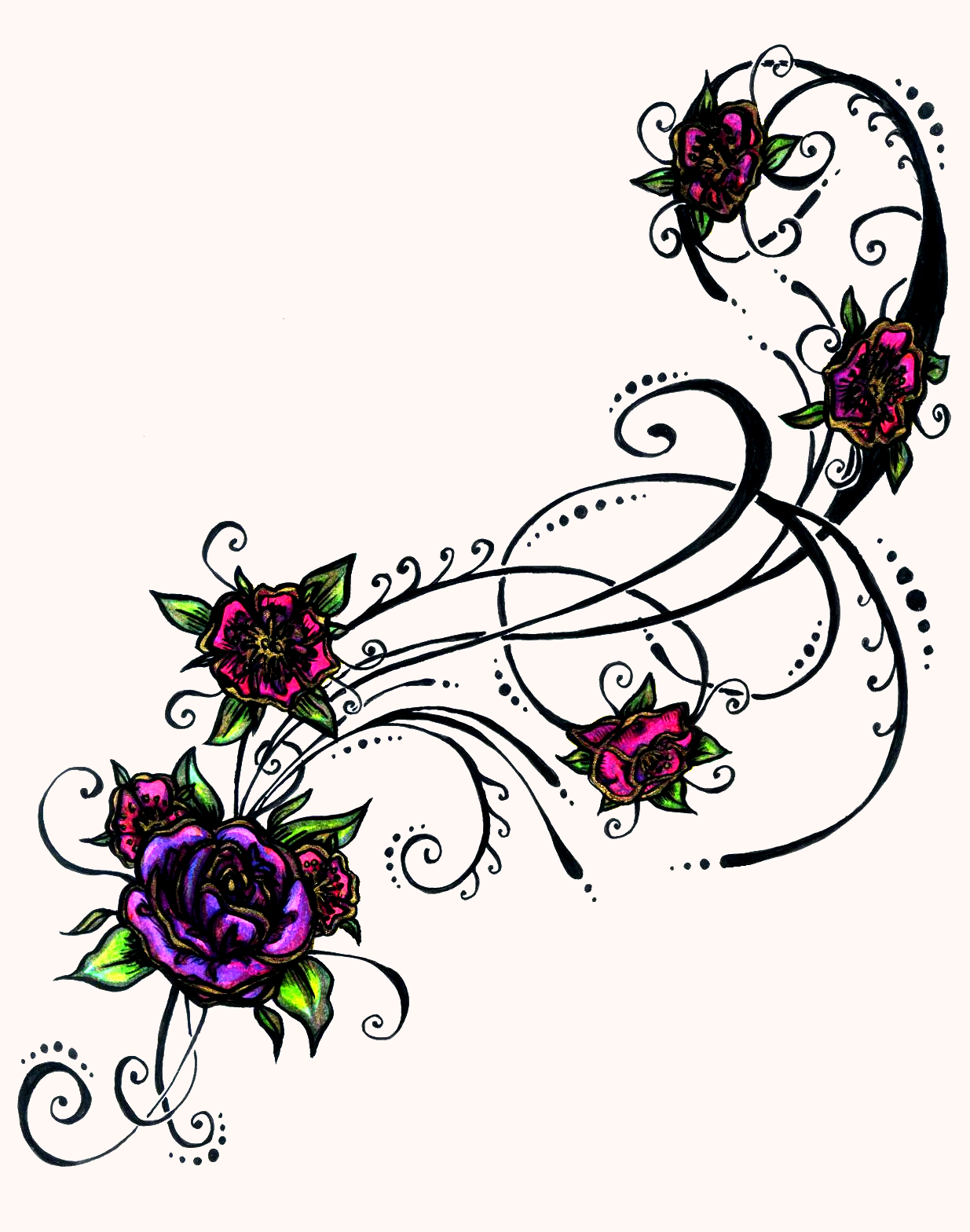 flower tattoos popular tattoo designs. Black Bedroom Furniture Sets. Home Design Ideas