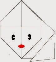 Bước 7: Vẽ mắt, mũi để hoàn thành cách xếp con thỏ bằng giấy đơn giản.