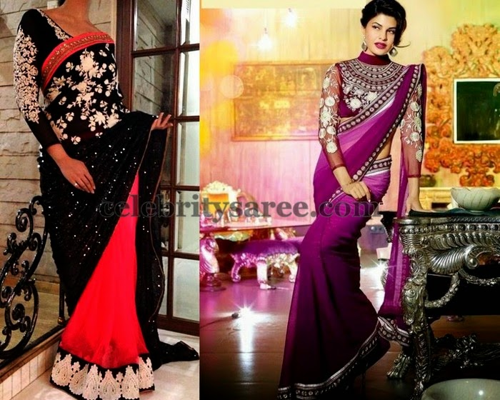Georgette Sarees High Neck Blouses