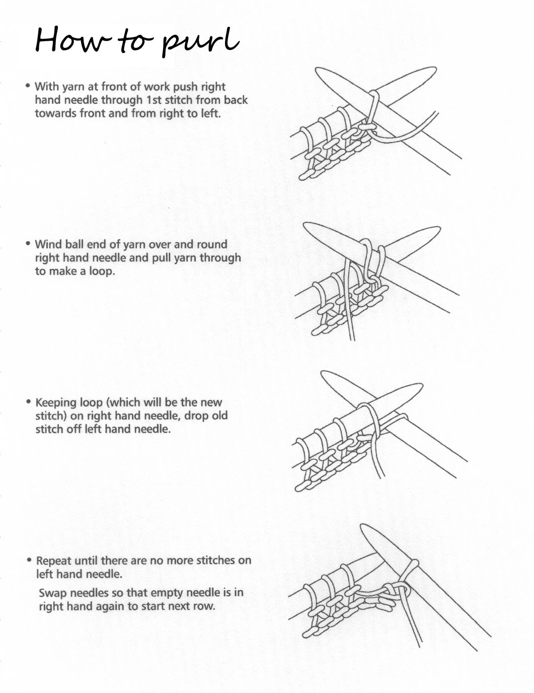 How To Purl Stitches In Knitting : HOW TO KNIT.