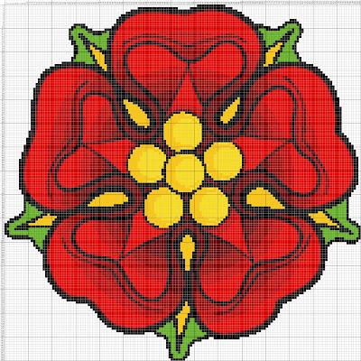 Gambar Pola Kristik Bunga Merah