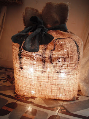 lampe sac II lumières en toile de jute
