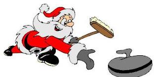 Santa throws a curling stone