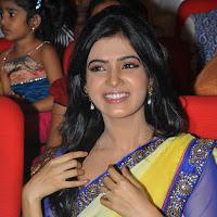 Cute and exotic samantha in half yellow saree at award function hq images gallery