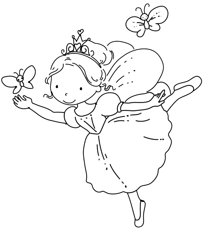 FREE Fairy Coloring Pages . Cute fairy with her butterfly, print and  title=