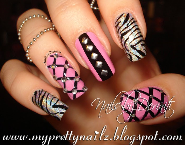 My Pretty Nailz: Birthday Bling Studded Nail Art Design and Video