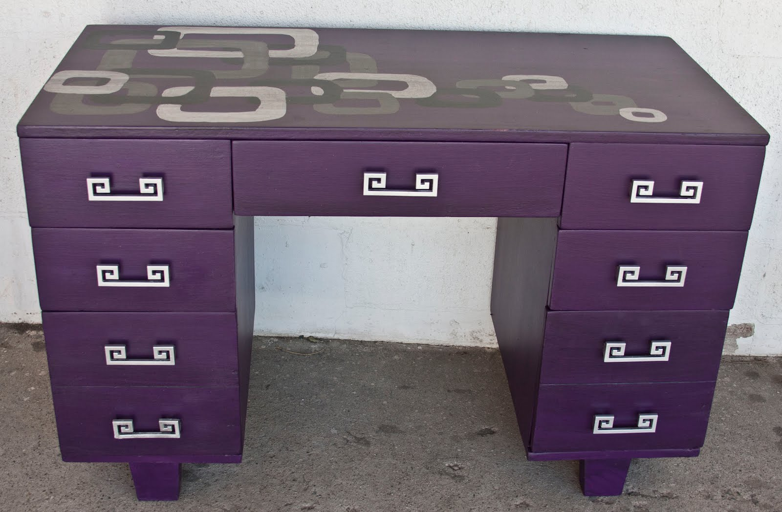 modernly shabby chic furniture purple squares desk