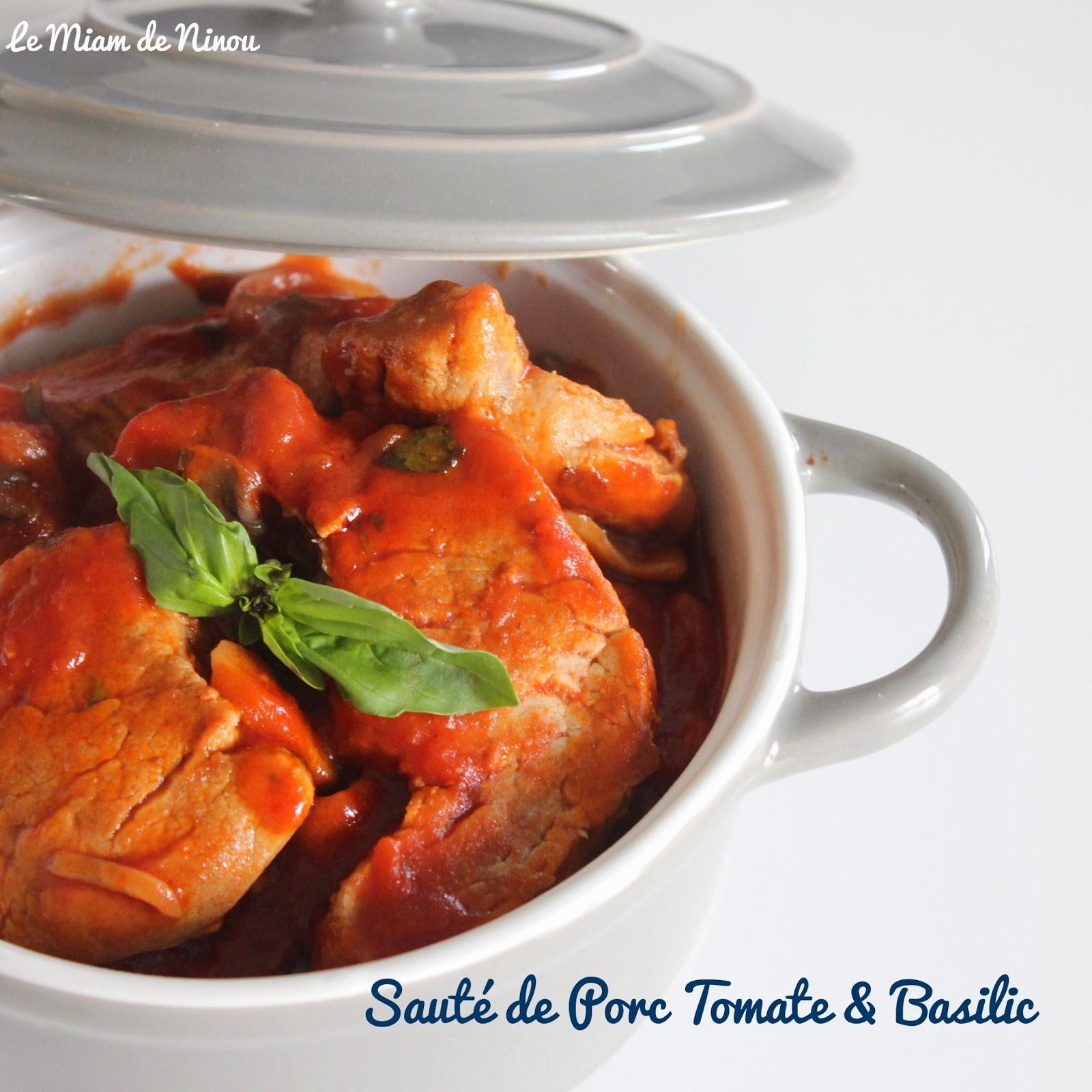 Comme une envie de saut de porc tomate basilic - Cuisiner le saute de porc ...