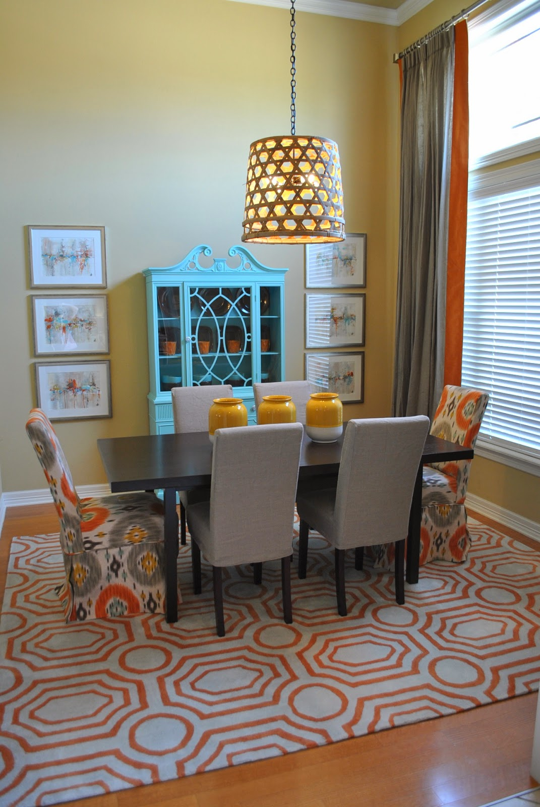 The francis family orange blue and grey dining room makeover for Orange and grey dining room