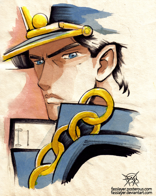 kujo jotaro jojo watercolor