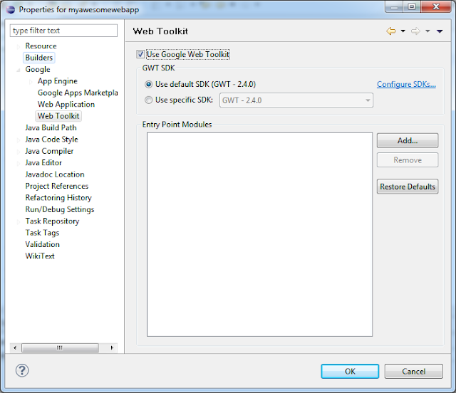 Eclipse Google Web Toolkit Properties
