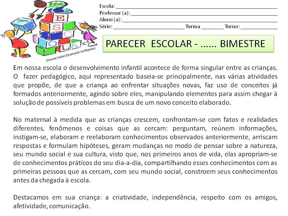 Conhecido Simone Helen Drumond : MODELO DE PARECER ESCOLAR BIMESTRAL 136 DL63