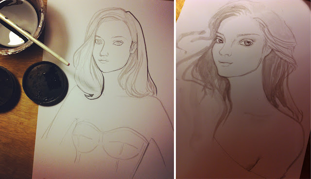 girl portraits illustration process blogpost india ink on paper