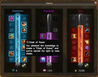 Talent Tree - Cloak of Power unlocked