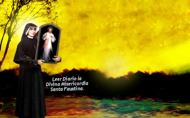 fondo de pantalla o plantilla de santa faustina