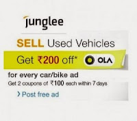 Junglee : Free Rs. 200 Off on OLA cabs on Posting Ad for Used vehicles : Buytoearn