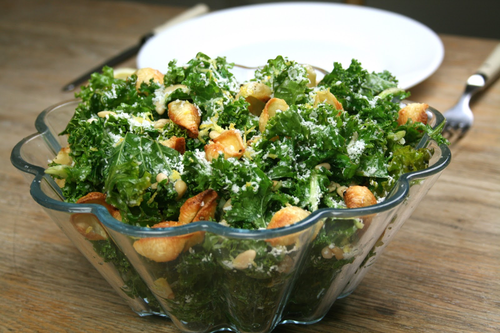 Sauteed Kale 'Caesar' Salad with Crunchy Conchiglie Croutons