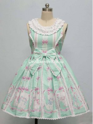 Sweet Kitten Printed Lace and Bow Lolita Dress