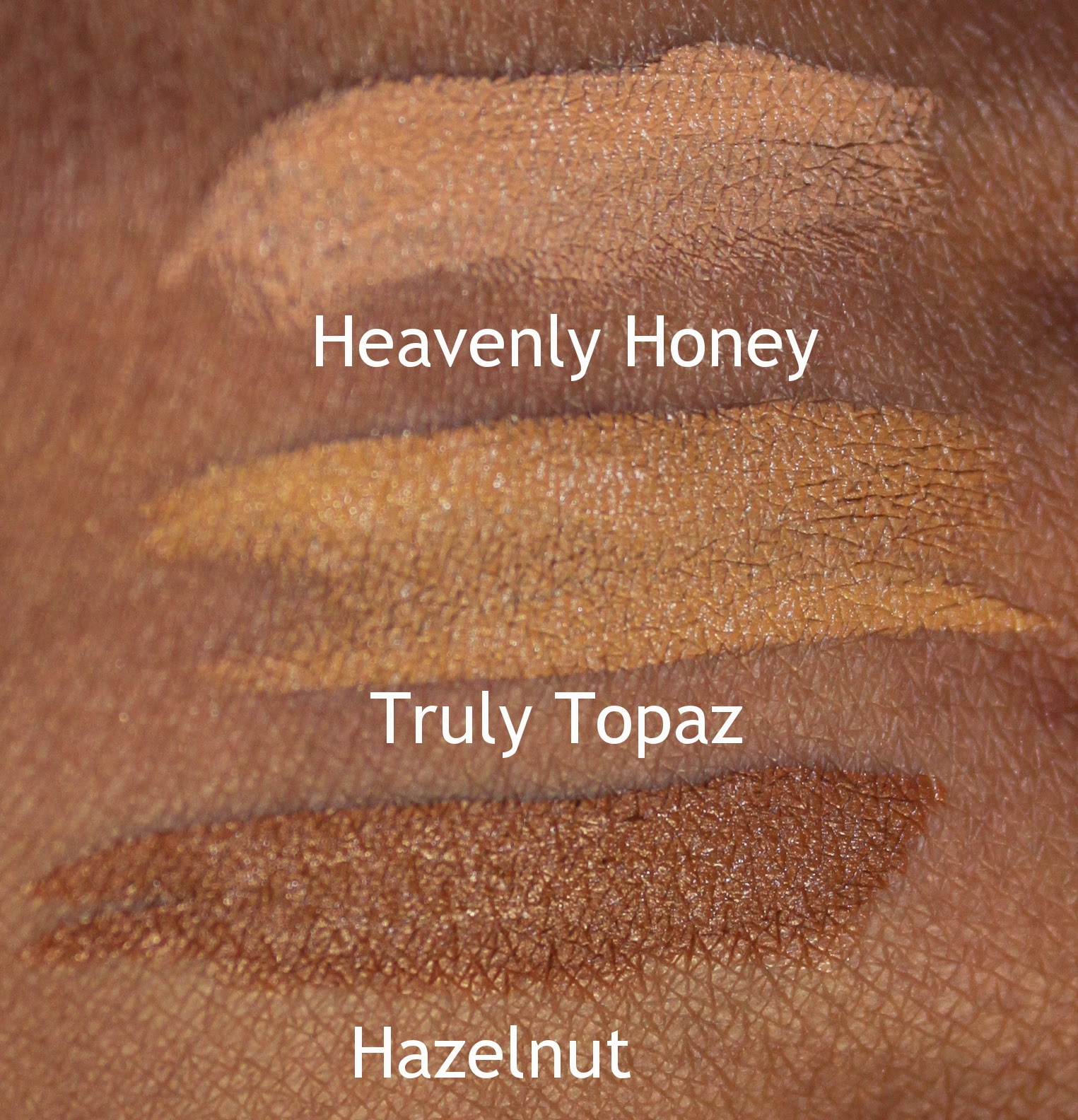 black opal stick foundation swatches heavenly honey truly topaz hazelnut