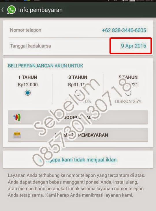 Jasa Perpanjangan WhatsApp Murah 2015
