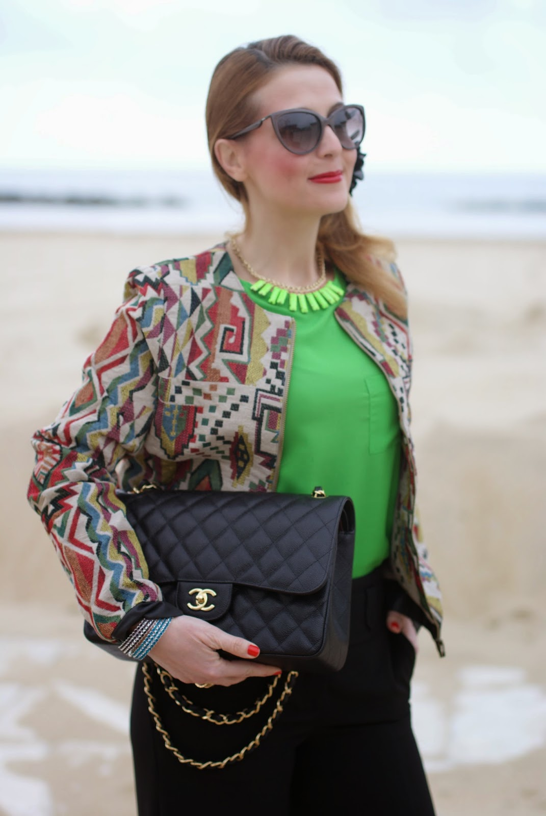 Chanel 2.55 classic flap bag, Paramita jacket, bomber jacket, French Connection green blouse, palazzo pants, Lunatic pantaloni, sided ponytail, Fashion and Cookies fashion blog, fashion blogger