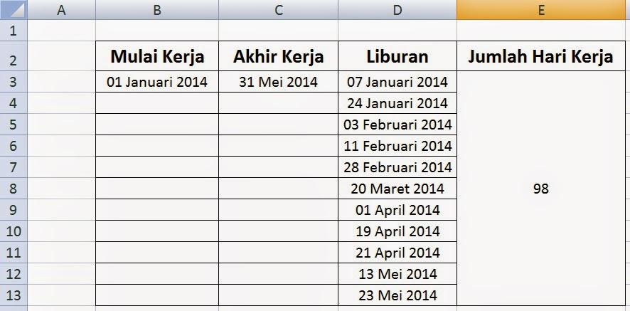 Hasil penghitungan jumlah hari kerja dengan rumus pada Ms Excel