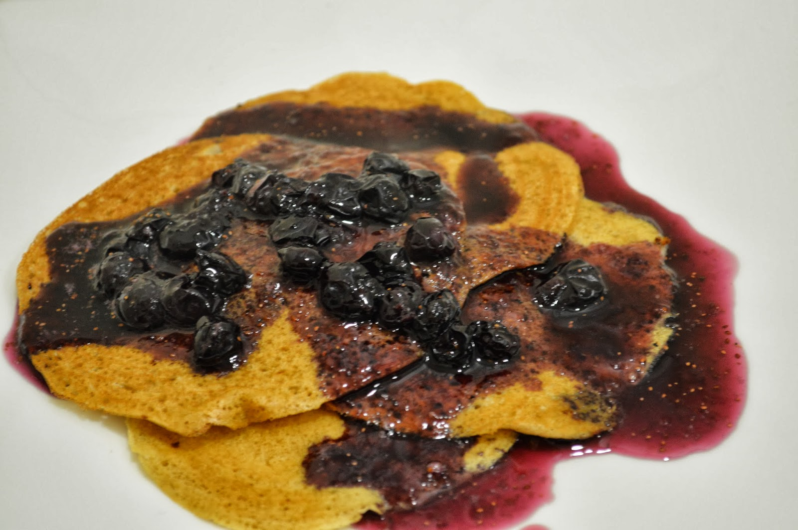Egg less Cinnamon pancakes with Blueberry syrup