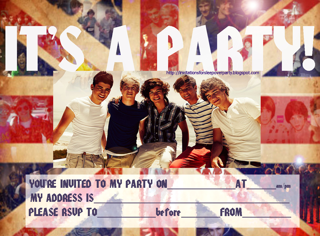 One Direction Party Invitations Printable