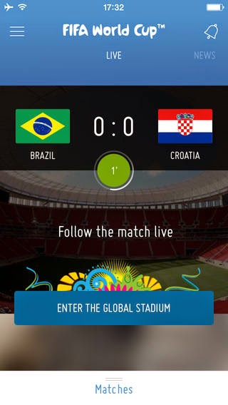 Mobile app for the soccer world cup