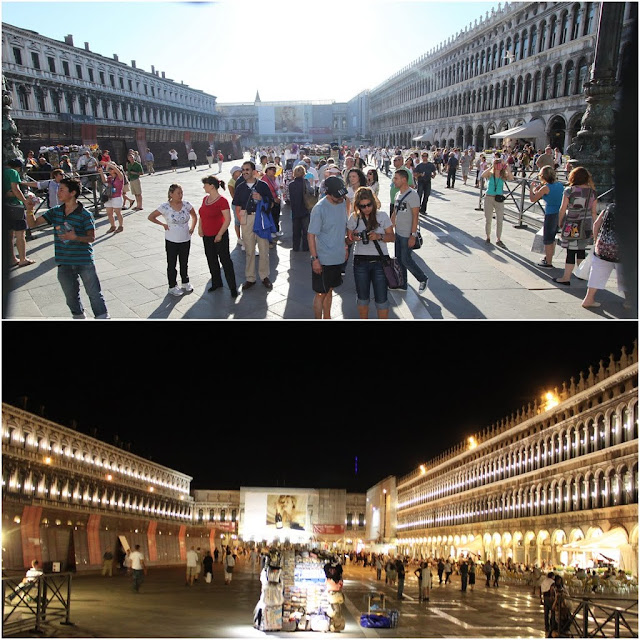 St Mark Square was taken in the day and at night at Venice, Italy