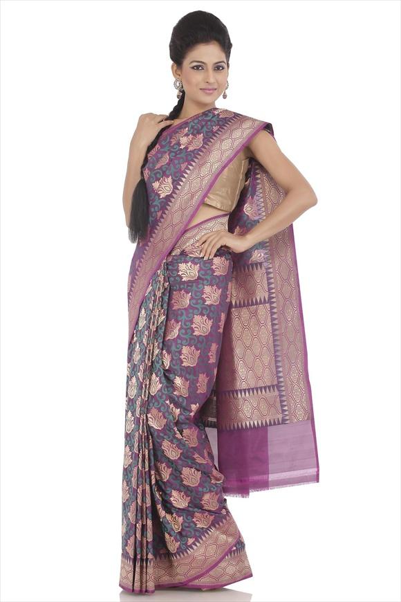 Grape Purple Art Kattan Silk Banarasi Saree