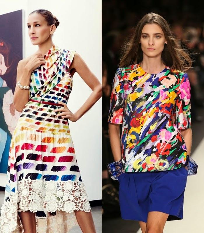Tendencia primavera-verão 2015 - Arty Vestido e blusa de cores