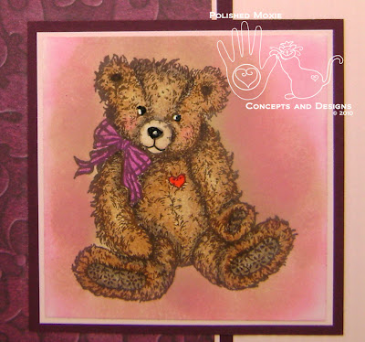 Close up of the completed teddy bear image