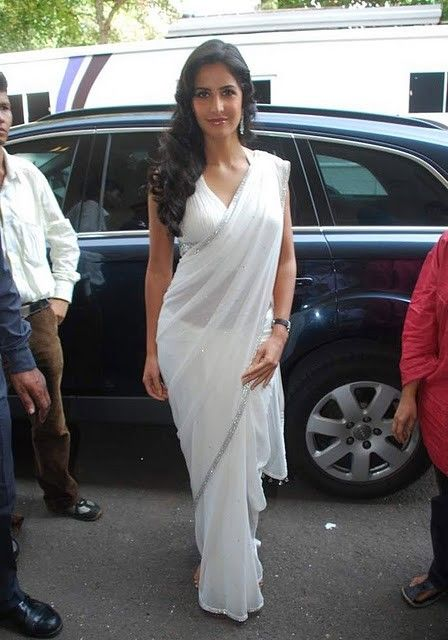 Bollywood Actress Katrina Kaif White Saree Stills Photogallery glamour images