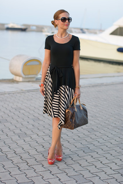 Donna Karan New York dress, Louis Vuitton Speedy 30 monogram, asymmetrical striped dress, Fashion and Cookies