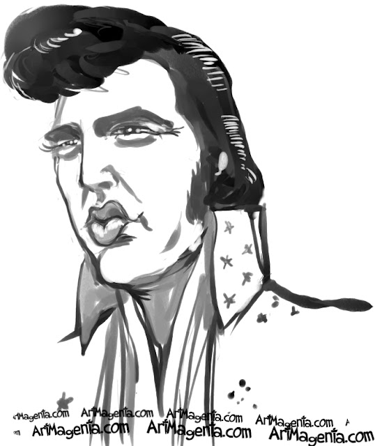 Elvis Presley caricature cartoon. Portrait drawing by Artmagenta.