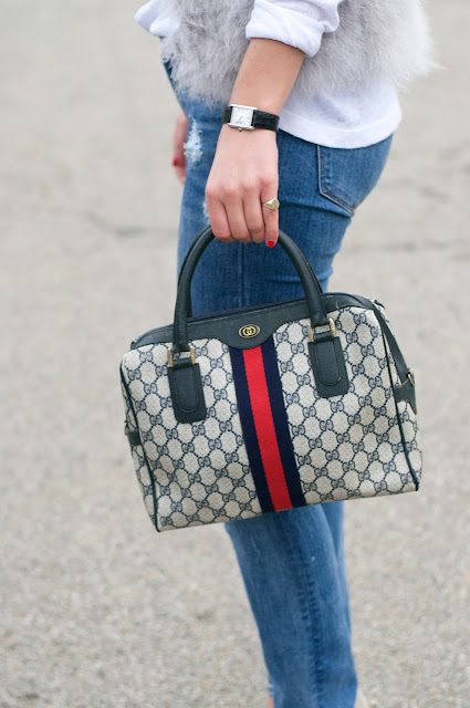 vintage gucci web pattern bag