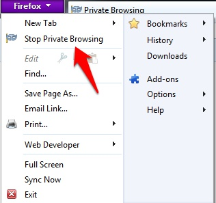 stop firefox private browsing mode