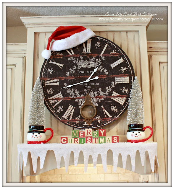 Vintage Farmhouse Christmas Kitchen-French Country-Snowman Mug-Wire Brush Tree-Felt Snow-From My Front Porch To Yours